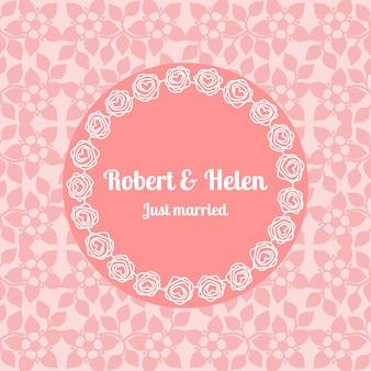 ちょうど結婚結婚式の花カードテンプレート