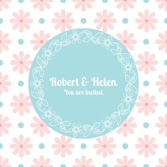 花のフレームを持つ結婚式のカードテンプレート