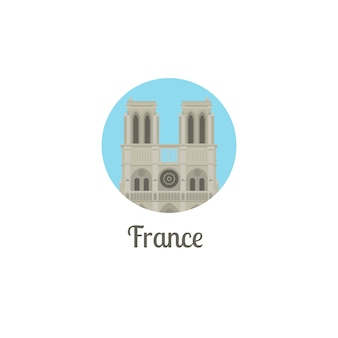 フランスノートルダムランドマーク丸型アイコン