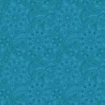 花と青いアラビアペイズリー柄