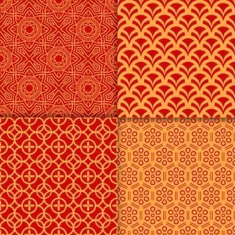 中国赤の幾何学模様セット
