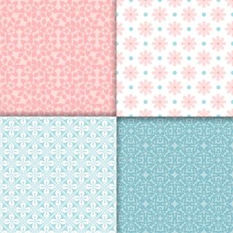ピンクとブルーのシームレスパターンセット