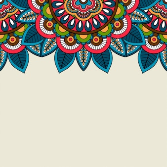 Индийский рисунок цветочные цветные границы