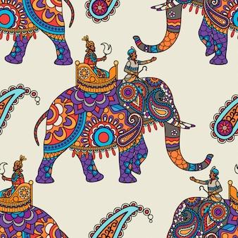 インドのマハラジャ手描きのシームレスパターン