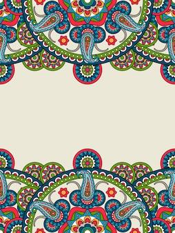 Индийская пейсли бохо мандалы вертикальная рамка