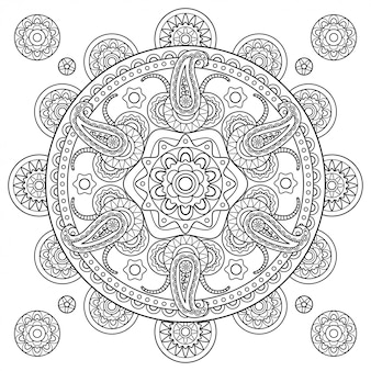 インドペイズリー落書き手描き曼荼羅