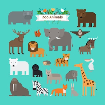 Зоопарк животных плоский дизайн векторные иконки