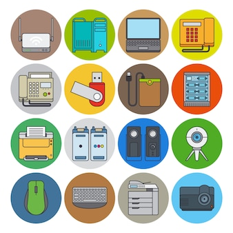 Электронные устройства плоская линия иконки