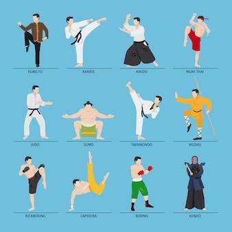 アジアの格闘技のベクトル図
