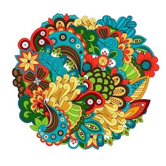エスニック色の花の円形パターンベクトル