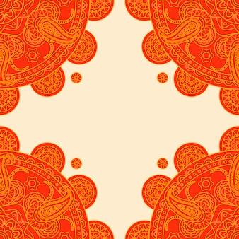 明るいオレンジ色のインドペイズリーフレーム