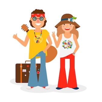 ヒッピーカップルがギターとスーツケースでヒッチハイク