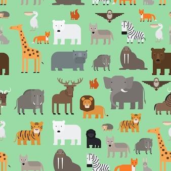 動物園の動物フラットスタイルのシームレスパターン