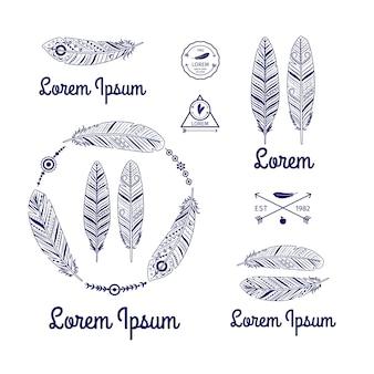 Этнические перья логотип вектор набор со стрелками