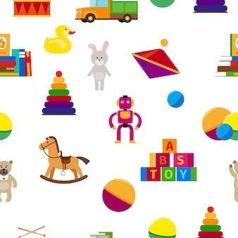 Детские игрушки плоский стиль бесшовные модели