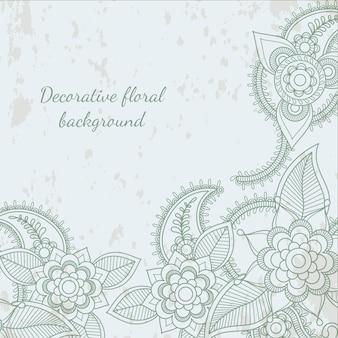 装飾的な花葉ヘナの背景