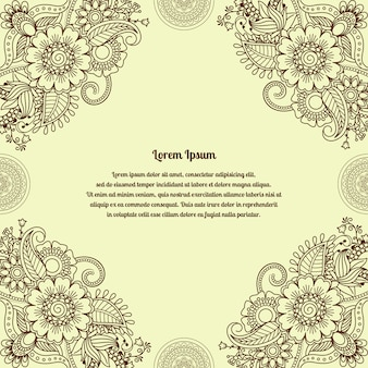 Цветочный фон индийской мехенди хны