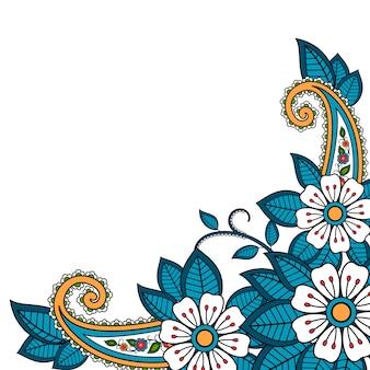 ヘナの花とペイズリーの背景