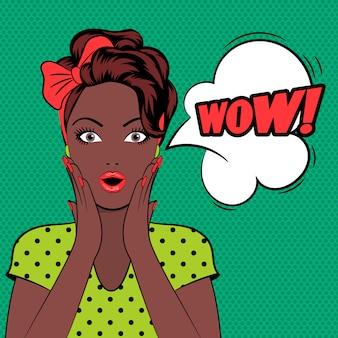 うわーバブルポップアート女性の顔