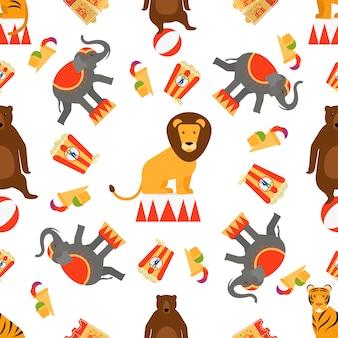 サーカスの動物と食べ物のシームレスパターン