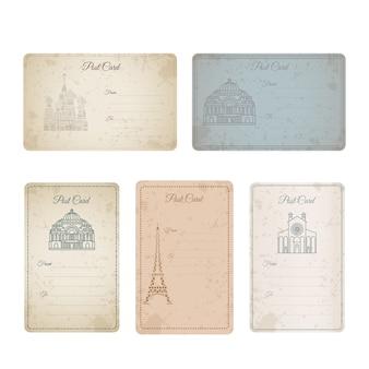 Коллекция старинных карт гранж открытка