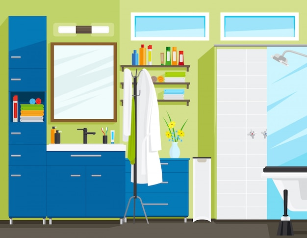 バスルームのインテリアまたはトイレのインテリア