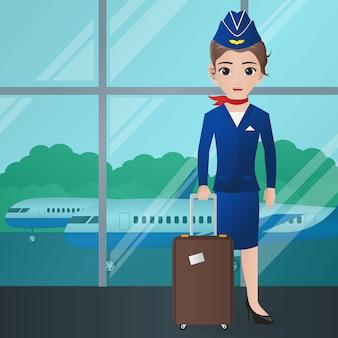 Стюардесса с чемоданом