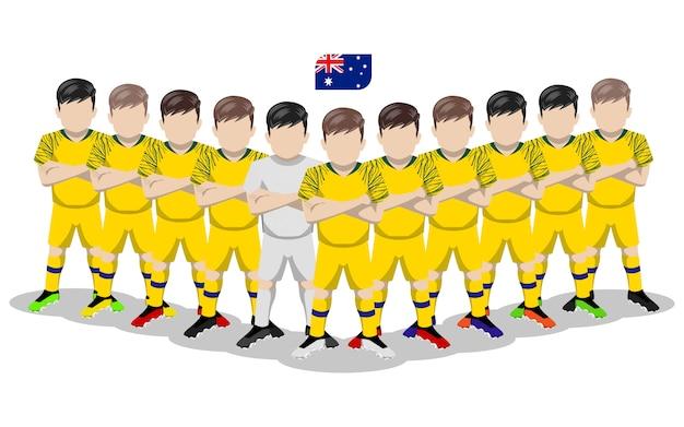 Плоская иллюстрация сборной австралии по футболу для соревнований в южной америке