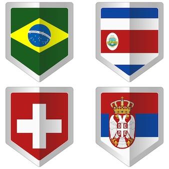 ワールドカップサッカーのための旗のセット