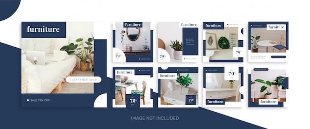 Социальные медиа публикуют шаблоны коллекции мебели и интерьера