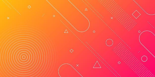 赤とオレンジのグラデーションとレトロなテーマのメンフィス要素とモダンな抽象的な背景