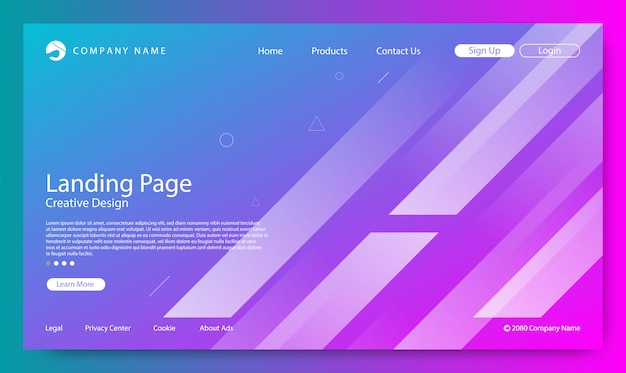 ウェブサイトのランディングページのグラデーションカラーの背景