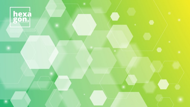 六角形のホワイトグリーンの背景。幾何学的なスタイル。モザイクグリッド抽象的な六角形デザイン