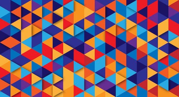 三角形の要素を持つモダンな抽象的な背景。ポスター、バナー、ランディングページのウェブサイトのレトロな色の背景。