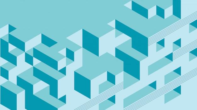 Абстрактный фон с изометрическими элементами куба коробки. с ретро или винтажными цветами.