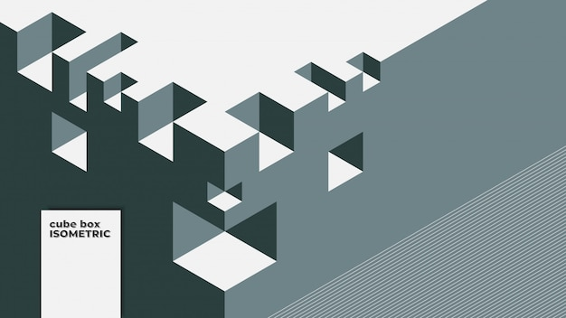 キューブボックスの等尺性要素と抽象的な背景。レトロまたはヴィンテージの色。
