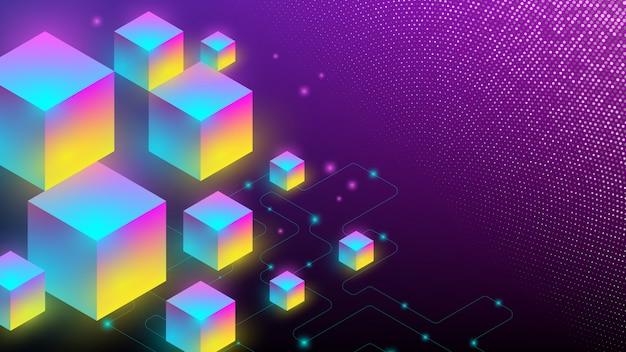 キューブボックスの等尺性要素と抽象的な背景。