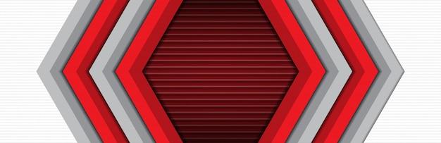 豪華でモダンな赤灰色の矢印方向バナーの背景