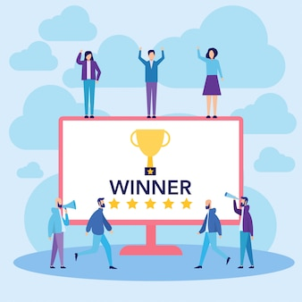 勝者と成功を祝う人々