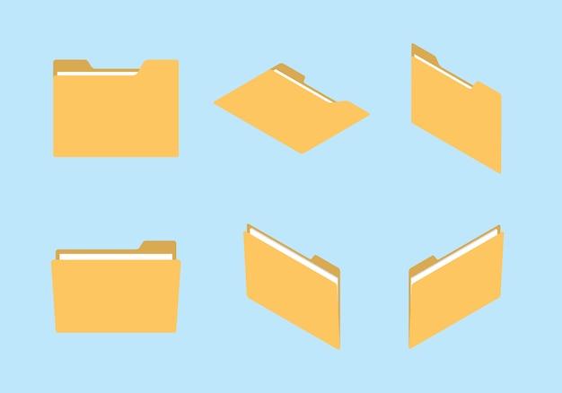 フォルダーアイコンセットコレクションの様々な形と等角投影のモダンなフラットスタイルのコンセプト
