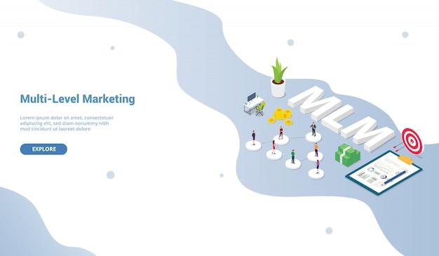 ウェブサイトテンプレートまたはランディングホームページ等尺性のマルチレベルマーケティングビジネスコンセプトバイナリツリーの概念