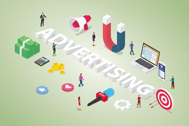 Рекламная концепция с большим словом и командой людей для рыночного продукта с деньгами и объектом, связанным с современным изометрическим стилем