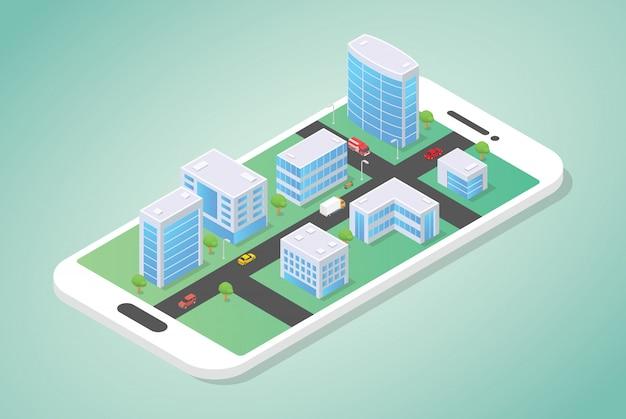 建物とモダンなフラットスタイルで路上で車とスマートフォンの上に等尺性都市
