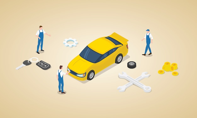 Автосервис с инженером-техником команды с автомобилем и деньгами в качестве технического обслуживания в изометрическом современном плоском стиле