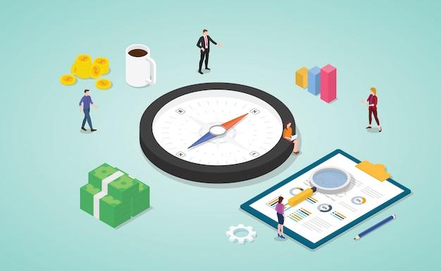 Обсуждение команды направления бизнеса на встрече с компасом как символом с изометрическим современным стилем