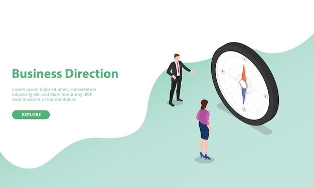 Обсуждение направления бизнеса с компасом в виде символа в изометрическом современном стиле для шаблона веб-сайта или целевой страницы