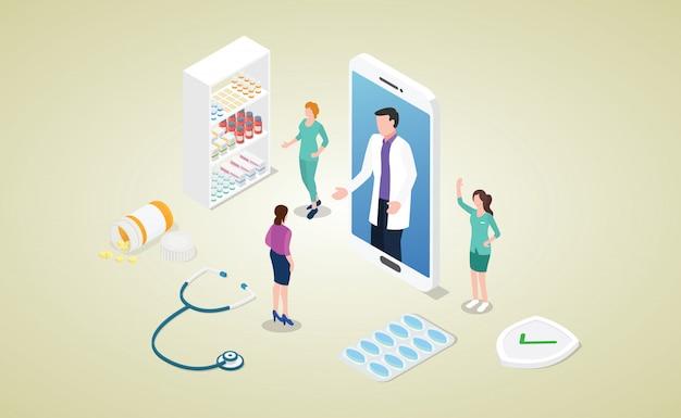 スマートフォンアプリとモダンなアイソメ図スタイルのオンライン医師相談コンセプト