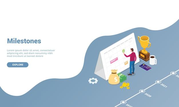 ウェブサイトテンプレートまたは等尺性のモダンなスタイルのランディングホームページの個人的なビジネスコンセプトのマイルストーンマーク