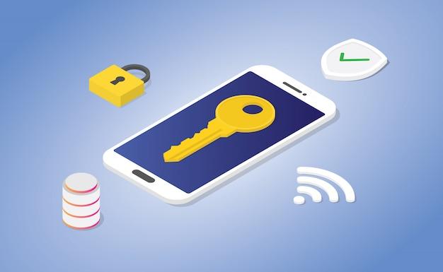 現代のアイソメ図スタイルで安全な南京錠とデータベースシールドを備えた電話セキュリティコンセプト