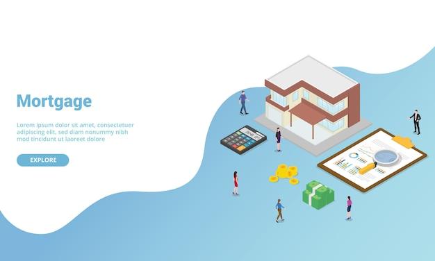 ウェブサイトテンプレートまたはランディングホームページバナーの住宅ローン電卓分析ビジネス等尺性